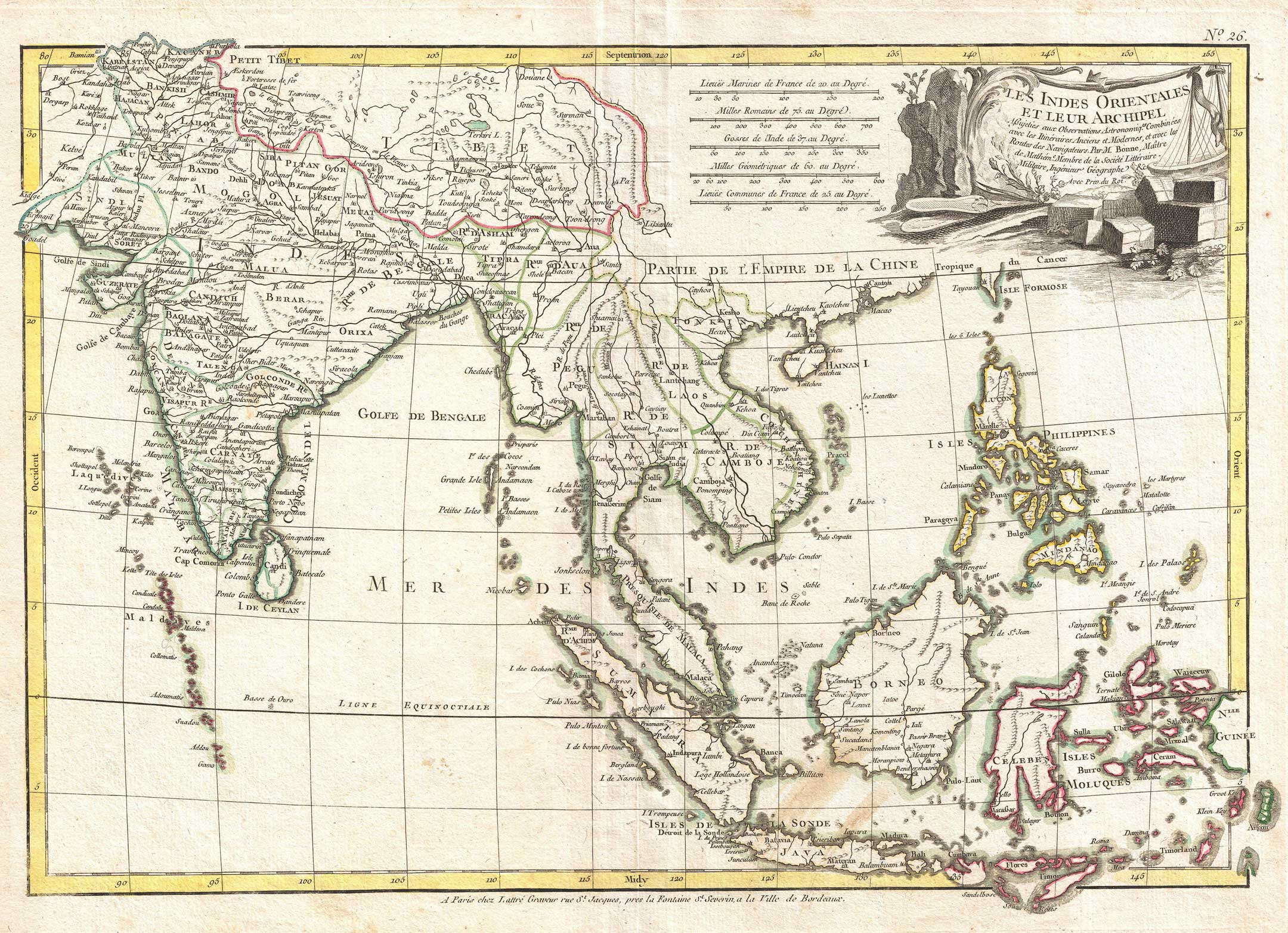 Rigobert Bonne's c. 1770 map of India, Southeast Asia and the East Indies - Wikipediaより
