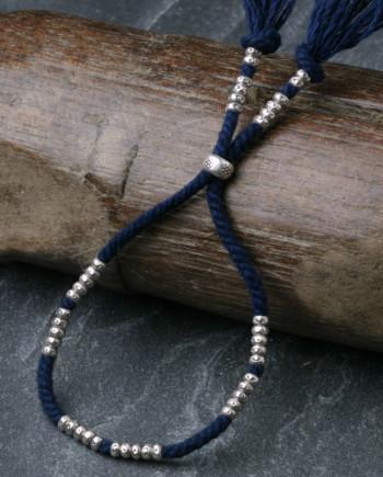 カレン族シルバーブレスレット/藍染め手紡ぎ木綿紐 #a04-29