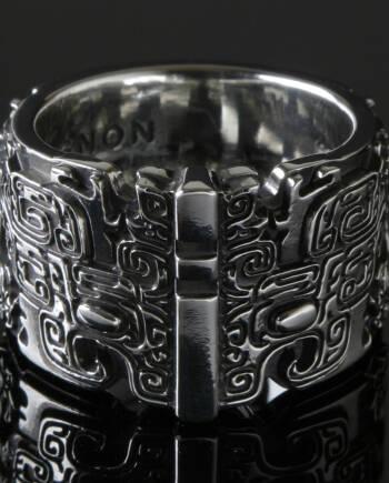 青銅器の龍シルバーリング/緻密な紋様 #f01-01