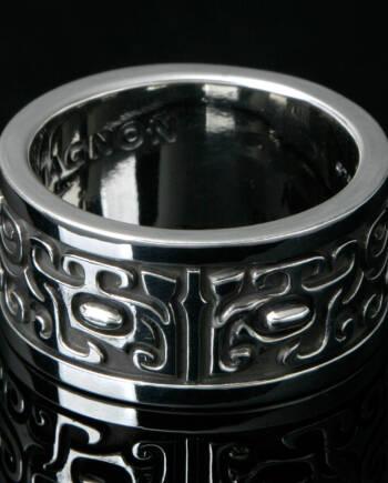 青銅器の龍シルバーリング/流麗な紋様 #f01-02