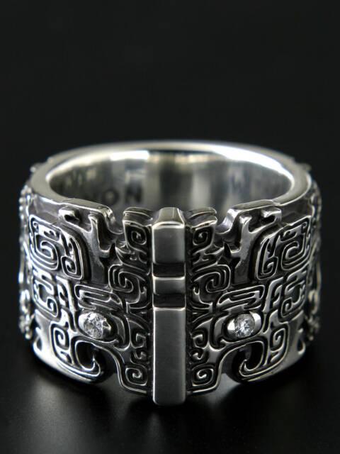 青銅器の龍シルバーリング/緻密な紋様/誕生石 #f01-01s